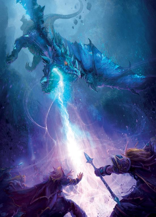 Синие драконы нападают на Высокорожденных в лесах Лунной Песни